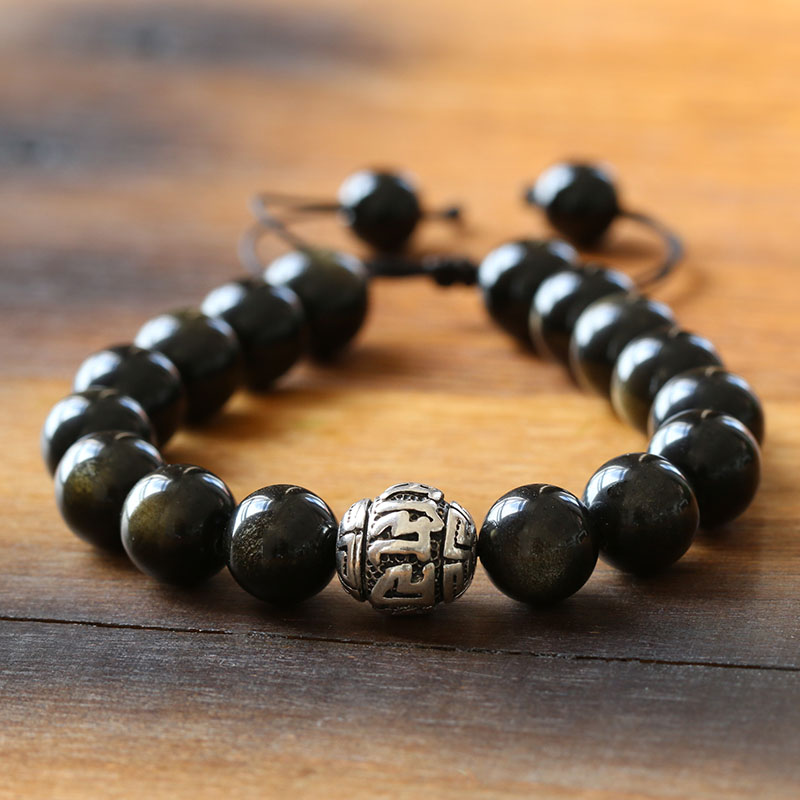 Natrual-Stone-Golden-Obsidian-Beads-Antique-Tiebtan-Silver-OM-Charm-Tibetan-Size-Adjustable-Artisan-Crafted-Jewelry-For-Men--Reikinn-BRL001(3)