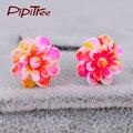 New Arrival Multicolor Flower Earrings Pusety Cute Korean Fashion Jewelry Earrings Fashion Ethnic Style Ear Jacket Stud Earrings