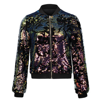 Autumn Women Sequin Coat Jacket Long Sleeve Zipper Streetwear Jacket Preppy Loose Casual Basic Coat Bomber Jacket Casual Outwear