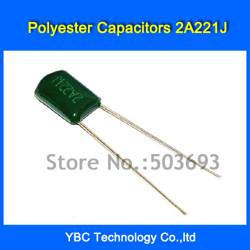 Free Shipping 500pcs/lot Polyester Film Capacitor 2A221J 100V 220PF 0.22NF image