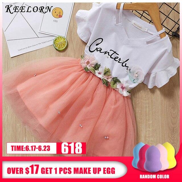 Keelorn Girls Clothing Sets 2019 Summer Brand Kids Clothes Flower Short Sleeve T-Shirt+ Tutu Dress 2Pcs Toddler Children Dresses