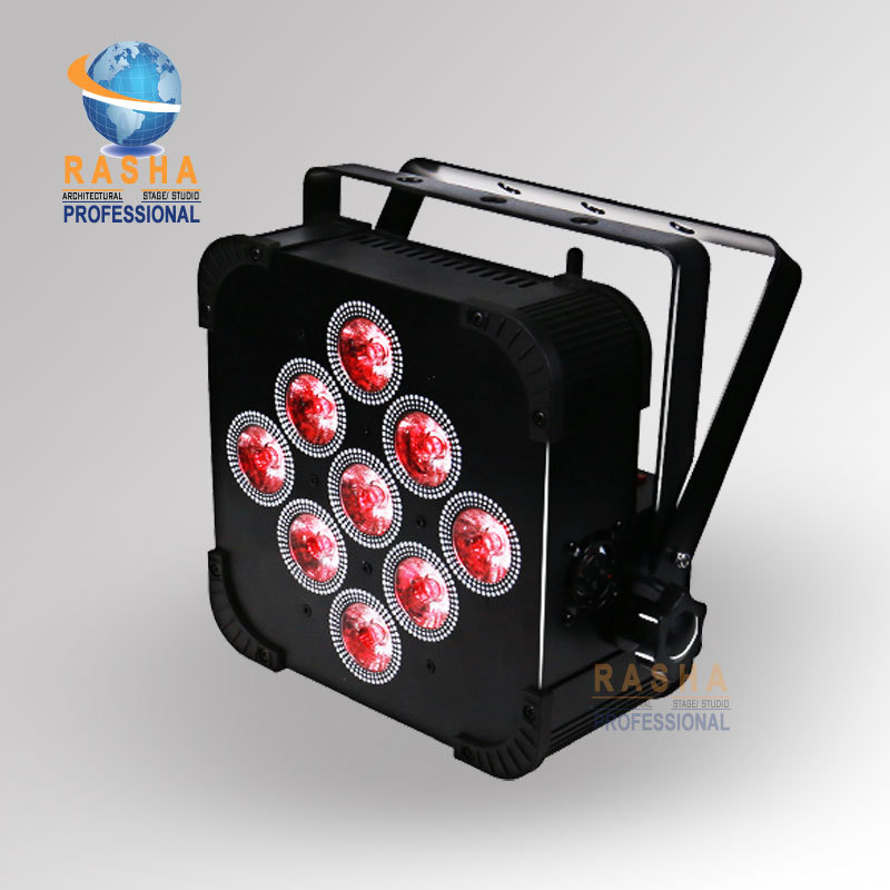 Factory Price 9pcs*15W 5in1 RGBAW Battery Powered Wireless LED Flat Par Light,LED Slim P ...