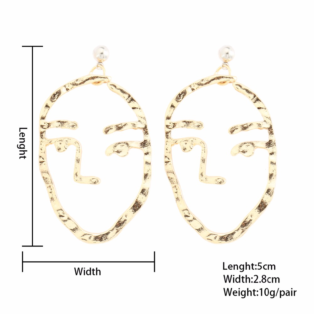 Abstract Art Drop Earrings Gold Color Face Statement Dangle Earrings ...