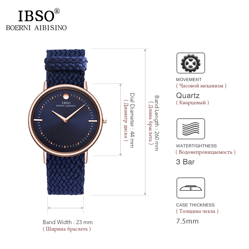 IBSO New 7 5MM Ultra thin Mens Watches 2019 Blue and Black Nylon Braided Strap Quartz Wristwatch Casual Fashion Watch Men Clock in Quartz Watches from Watches