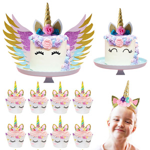 Image 1 - Unicorn Cake Topper Unicornio Horn Ears Cake Decorations Cupcake Toppers Baby Shower Birthday Party Supplies Baking Tools