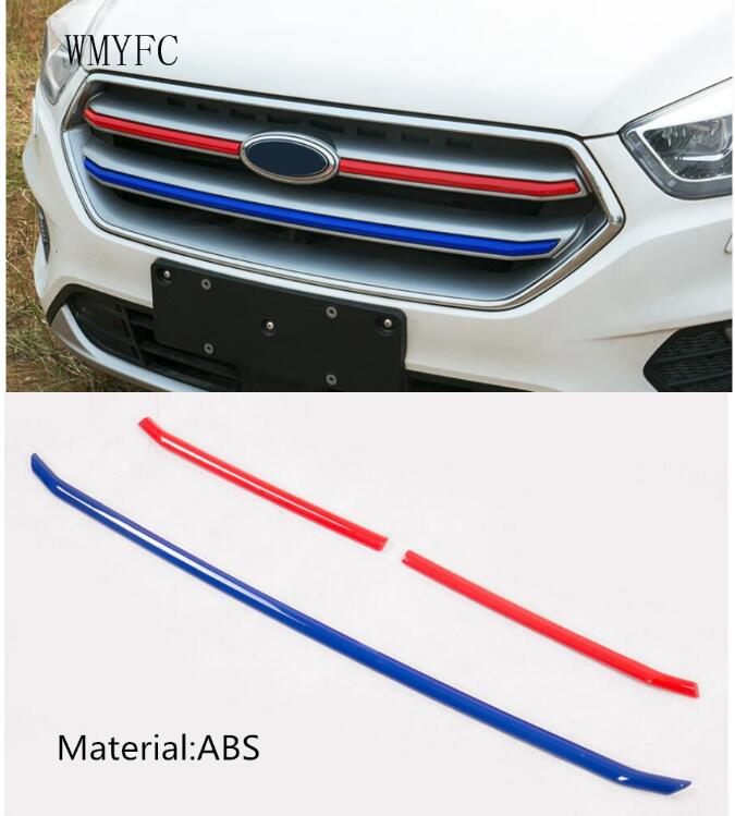 ABS Front Grille Trim Decoration Strips grill Cover Stickers Fit For Ford Escape Kuga 2017 2018 Modified accessories стоимость