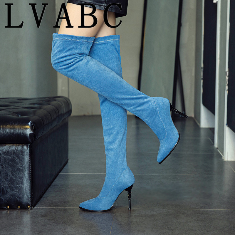 Open-Minded Lvabc New 2018 Slim Over The Knee Boots Women Faux Suede Thigh High Boots Stretch Winter Boots Ladies Fashion Long Booties 31-48 Finely Processed Women's Shoes
