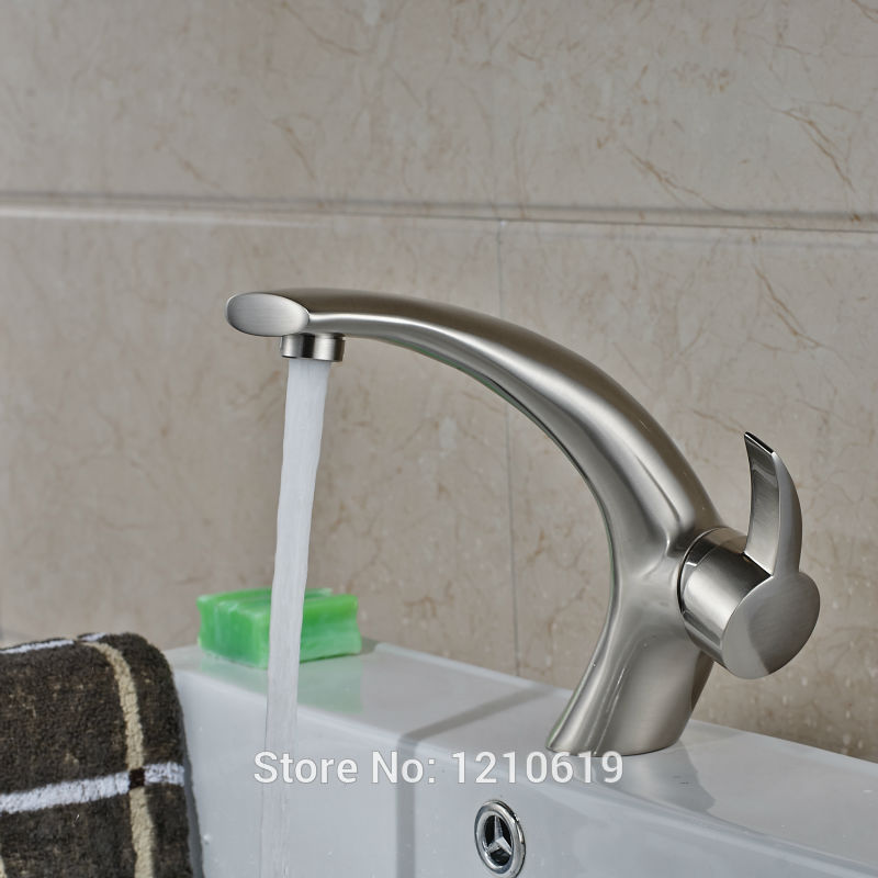 Uythner Newly Nickel Brushed Bathroom Sink Faucet Arc Style Basin Faucet Mixer Tap Single Hole newly nickel brushed bathroom sink faucet cold