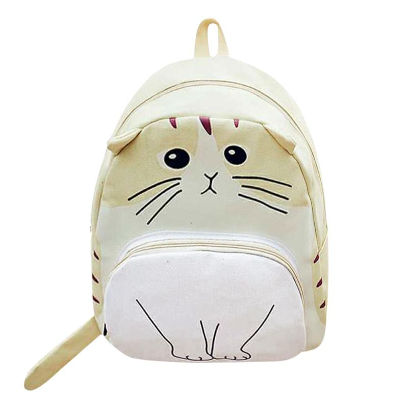 Cat Backpack Schoolbag Travel-Rucksack Canvas Teenage-Girls Women for 4-Colors 3d-Printing