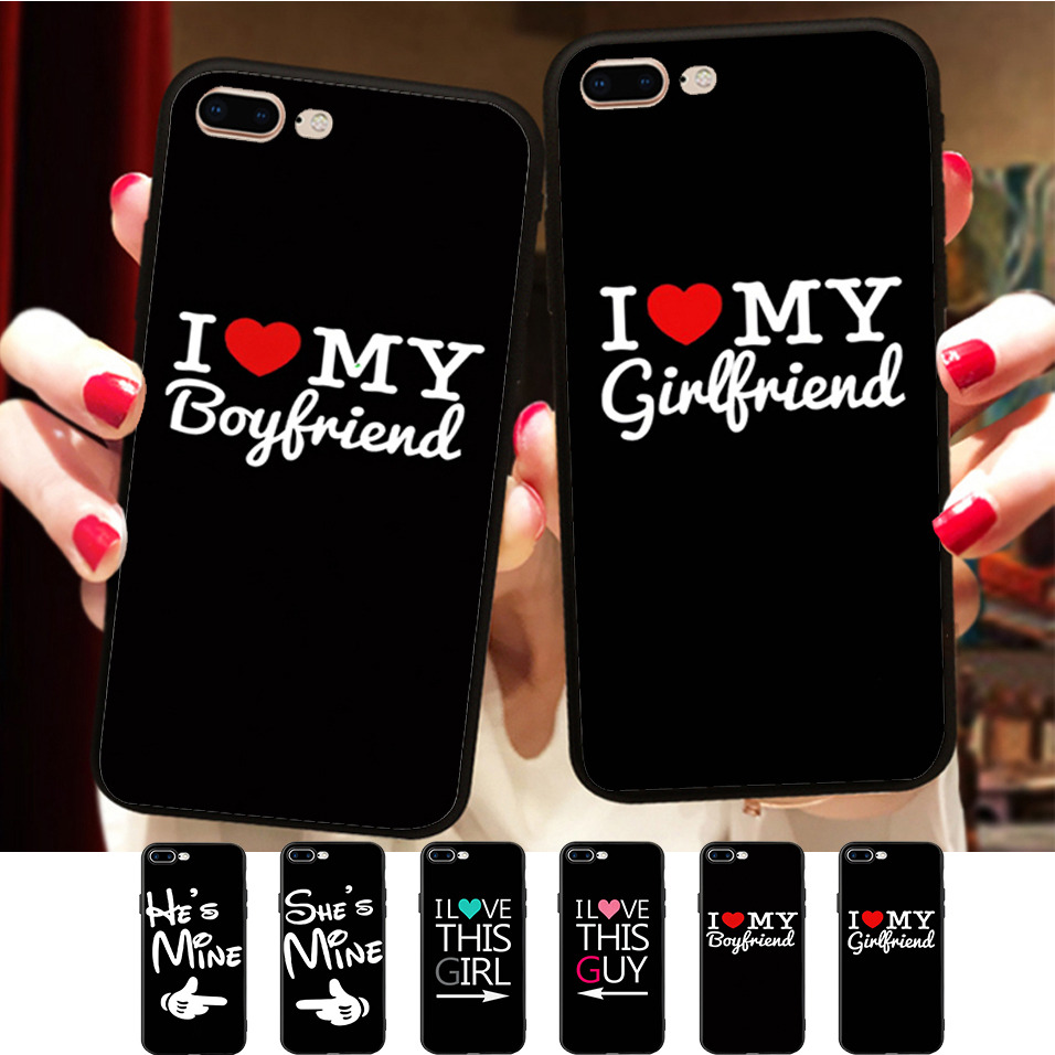 I Heart My Boyfriend Girlfriend Funny Couple Matching Quotes Cover For iPhone X 8 5 5S SE 6 6S 7 Plus Soft Silicone Phone Case image