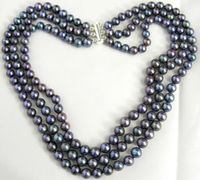 3 Row Black 7 8mm Freshwater Cultured Pearl Necklace 17 19