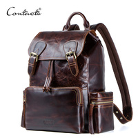 CONTACT'S crazy horse leather men backpack for 13.3 laptop Portable vintage travel bags with Drawstring Drawstring port backbag
