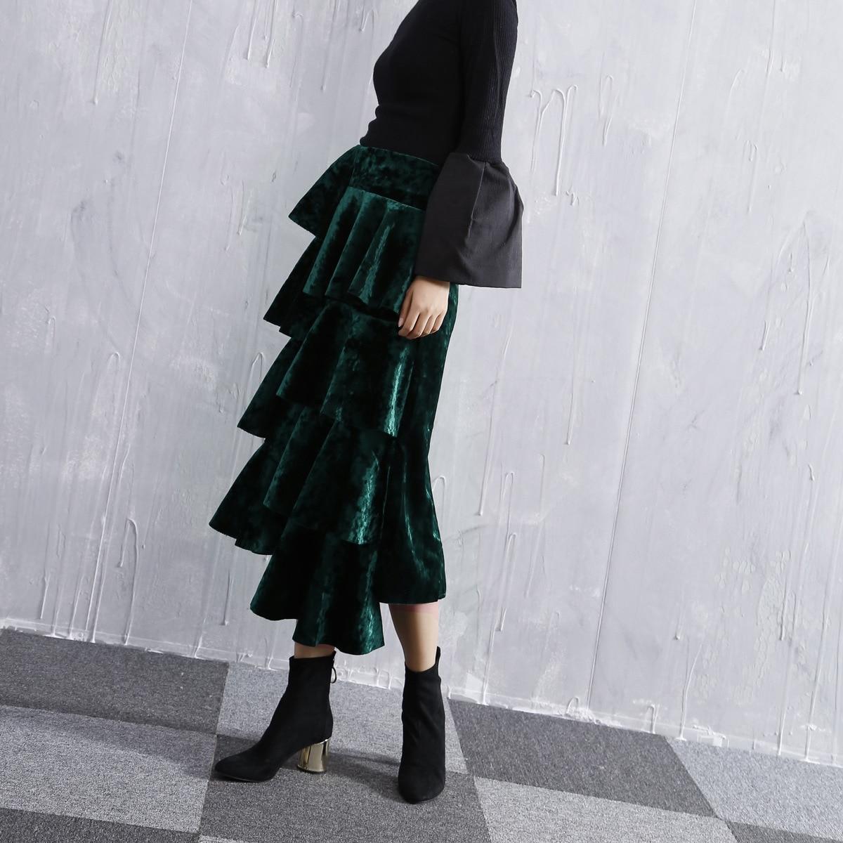 Moda Otoño 2018 Qd691 Alta Falda negro Velvet Vintage Green Mujer Faldas Cintura Cake Longitud Invierno Mediados De Asimétrico 6wqrwdF