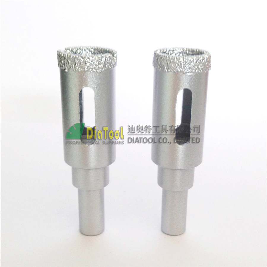 DIATOOL 2pk Dia16mm Round Shank Vacuum Brazed Diamond Core Bits, Dry Or Wet Drilling Bits For Stone Ceramic Glass 2pcs dia 6mm vaccum brazed diamond drilling bits 10mm round shank dry drilling for stone masonry