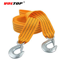 VOLTOP 3M 3Ton Car Nylon Tow Strap Tow Rope Night Reflective Tape Trailer Towing Rope Auto Emergency Helper High Strength Hook