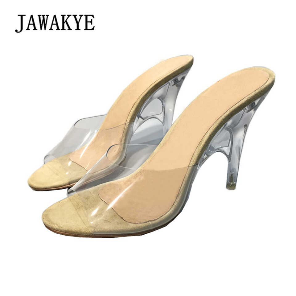6d45dfdeadec 2018 Peep toe Summer Sandals PVC Transparent Shoes Women Clear Slippers  Mules Slides shallow special high heels Slipper Shoes