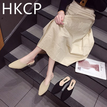 HKCP 2019 summer new outside wear mesh top half to go with thick heel pointed casual loafers womens shoes C230