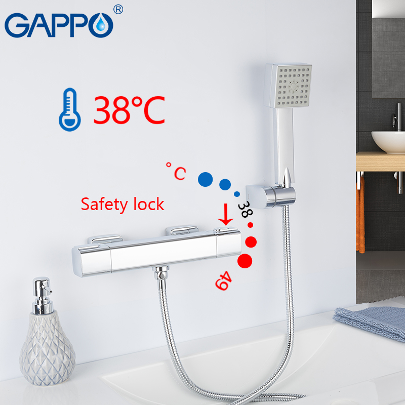 купить GAPPO Bathtub Faucets wall mounted chrome bathroom shower thermostat bathtub faucets waterfall bath taps shower mixer torneira недорого