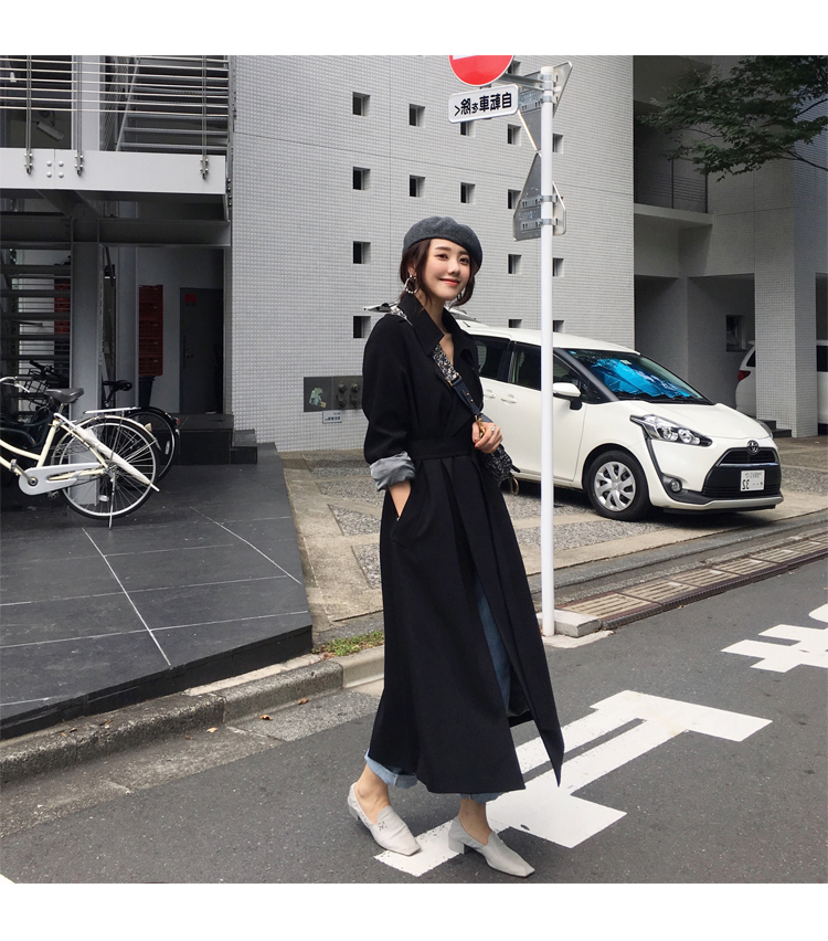 Spring Autumn Maxi Long Women's Loose Trench Coat With Belt Khaki & Black Plus Size Korean Style Windbreaker Outwear 8