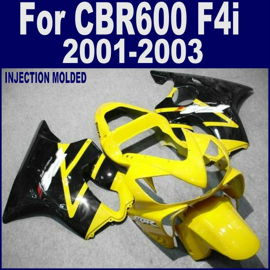 ABS plastic for HONDA CBR 600 F4i black yellow custom fairing 01 02 03 CBR600 F4i 2001 2002 2003 fairing kits DGSD injection molded parts for honda cbr 600 f4i fairings yellow black 2001 2002 2003 cbr600 f4i 01 02 03 motorcyle fairing kit hg5