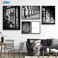Nordic Poster Black And White Building Canvas Painting Girl Wall Art Posters Prints Wall Pictures For Living Room Scandinavian