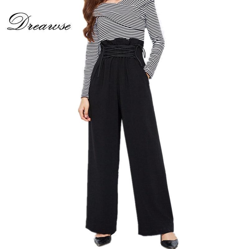 Dreawse Spring Fashion New Style Women Chiffon Trousers Chic Boutique High Waist Lace Up Female Casual   Wide     Leg     Pants   MZ2178