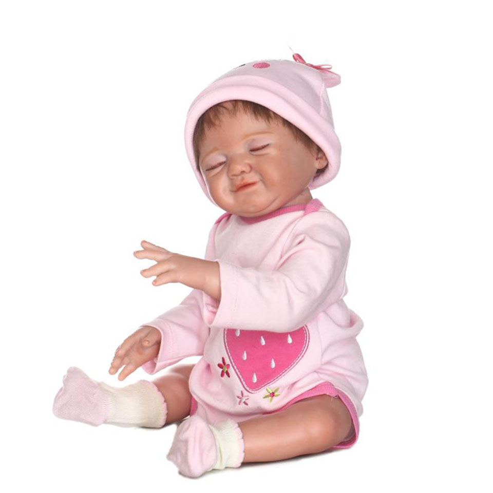 Funny Girl Sleeping Babies Doll 20'' Full Vinyl Lifelike Reborn Baby Dolls Toy Looks Like Smile New Design bebe Christmas Gifts lifelike american 18 inches girl doll prices toy for children vinyl princess doll toys girl newest design