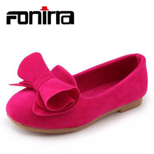 Buy Fashion 2016 Flat Shoes Sneakers For Kids Baby Girls Children Breathable Bowknot Casual Big Bow Velvet Loafers Size 2016-11 directly from merchant!