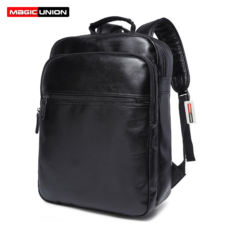 ФОТО MAGIC UNION Temperament Fashionable Man Backpack High Quality Patent Leather Business Casual Men's Backpack Laptop Backpack