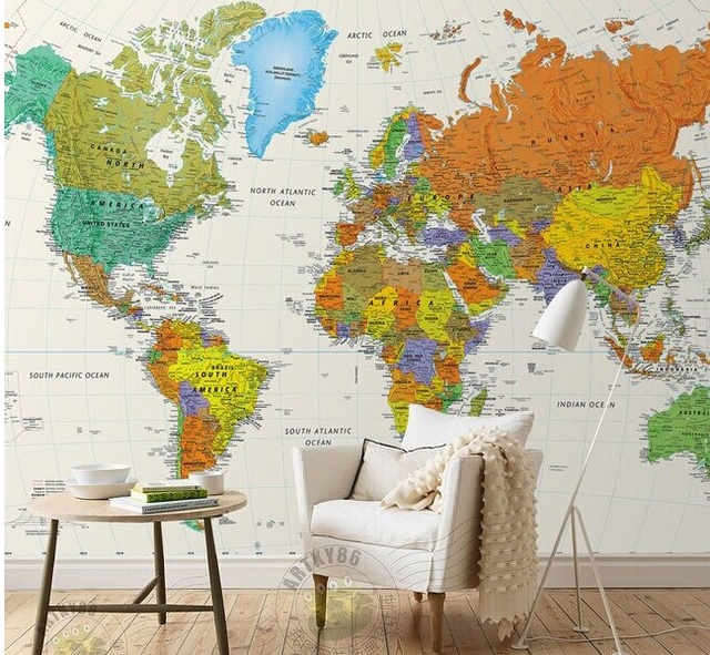 World Map Wall Mural Physical Miller Cylindrical Projection 5mx3m Part 97