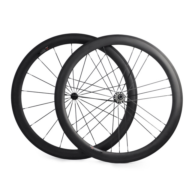 Cheap 700C Carbon Road Bike Wheelset Carbon Wheels 50mm Clincher G3 Pattern Straight Pull Road Bike Wheels with Powerway R36 Road Hub