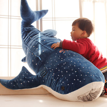 Plush Toys Big Fish 50/75/100cm New Blue Gray Red Shark Whale Doll Kawaii Stuffed Animals Soft For Children China