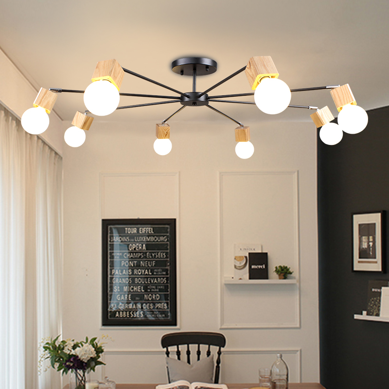 купить Nordic 3/5/8 head art restaurant lighting creative personality living room real wood lamp owners bedroom simple iron art lamps онлайн
