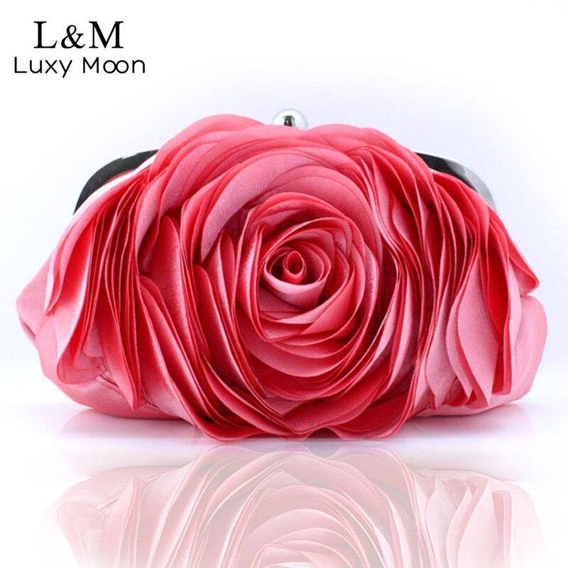Senhoras do Vintage Bolsa de Noite Festa de Casamento Floral Mulher Moda Rosa Flor Corrente Mão Bolsa Embreagem Jantar Pequena Bolso Xa140h