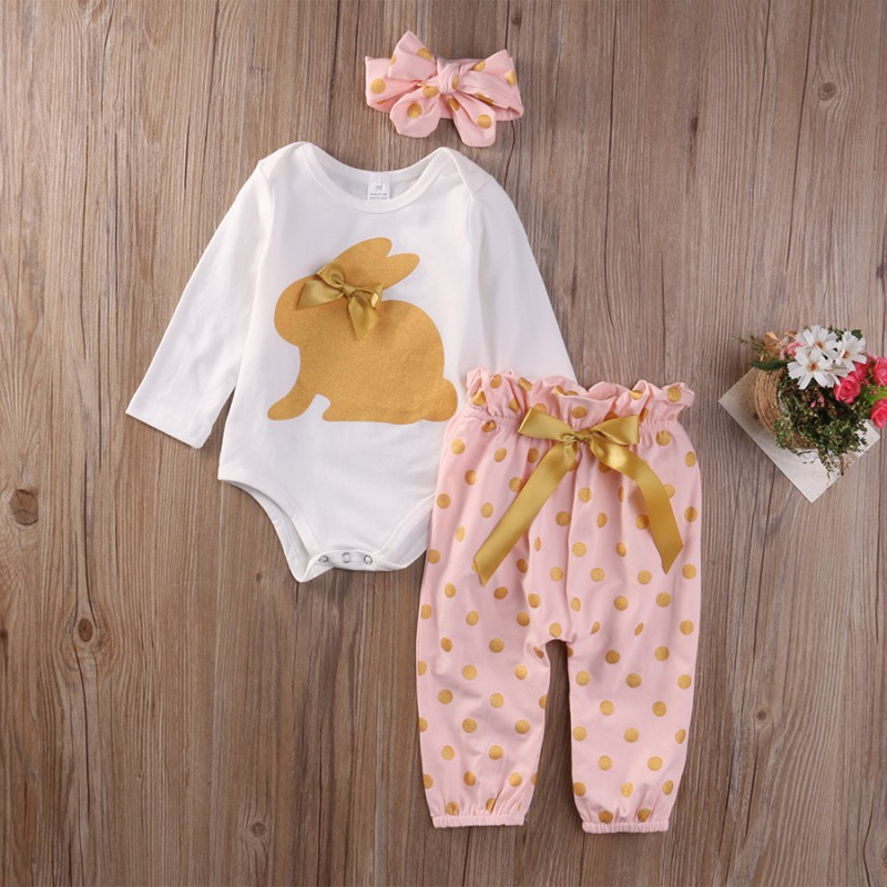 3pcs Newborn Baby Girl Clothes Headband + Long Sleeve Romper + Pants Trousers Clothing Set 0-18M