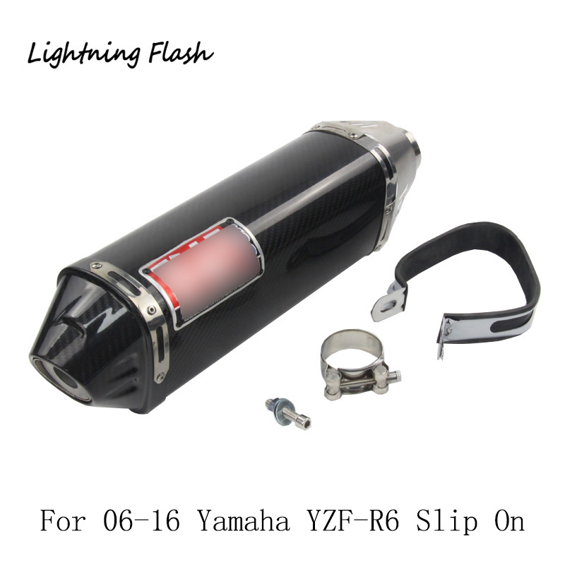 For 06-16 Yamaha YZF-R6 Carbon Fiber 45 mm Motorcycle Exhaust Muffler Pipe Tail Escape with Removable DB Killer Slip On 420 mm