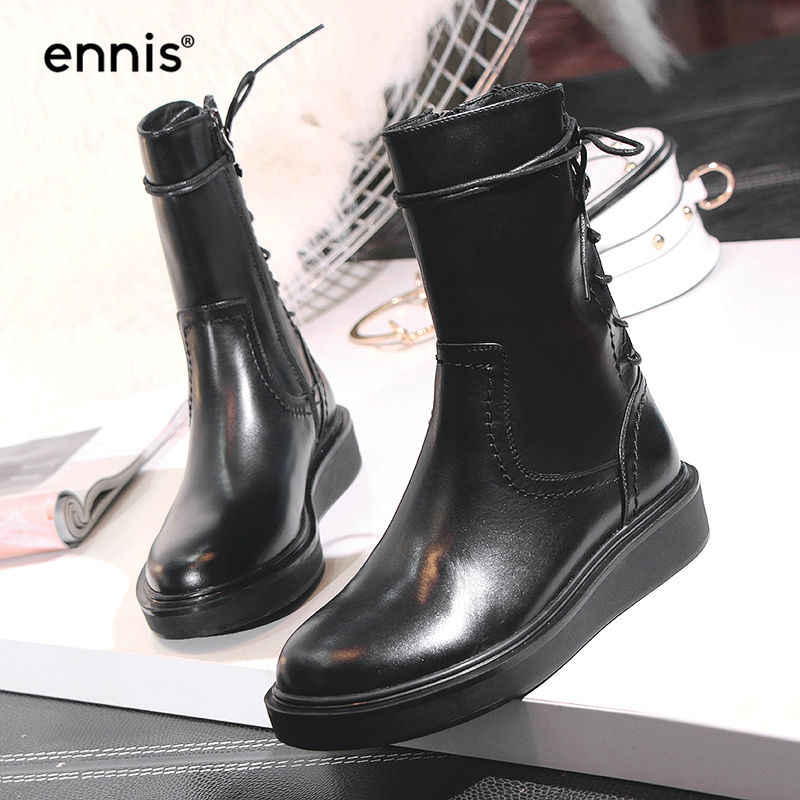 aac21de87a9c ... ENNIS 2018 British Motorcycle Boots Women Shoes Genuine Leather  Platform Boots Flat Back Lace Up Boots ...