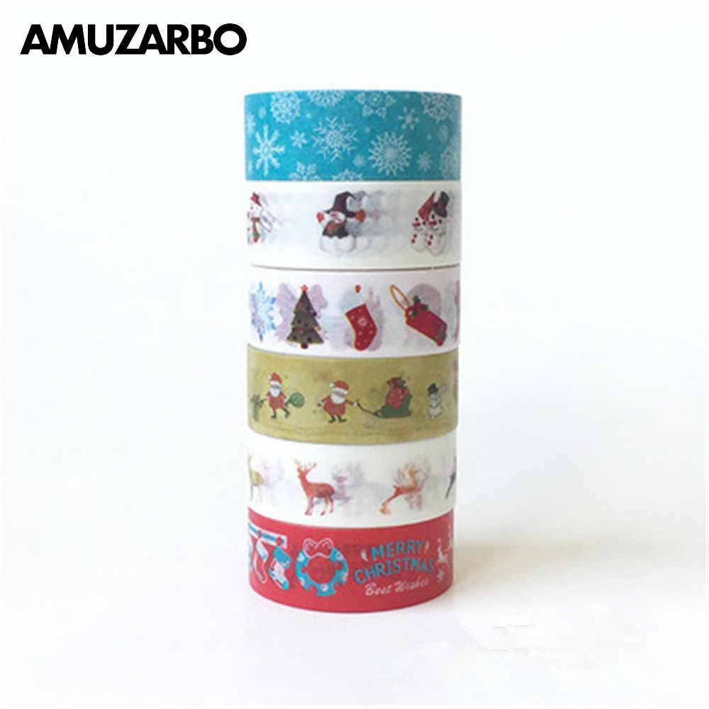 1 PCS Decorativo Neve Veados Árvore de Natal Washi Conjunto de Fitas de Papel de Arroz DIY Scrapbooking Fita Adesiva 1.5 centímetros * 10 m Papelaria