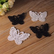Patches For Clothing Fallout Lace Clothing Accessories Exports Fine White Bow Soluble Embroidery 6.5cm*5cm(China)