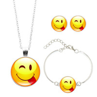 Fashion Jewelry Set with Silver Plated Glass Cabochon Emoji Pattern Choker Necklace Earring&Bracelet Set for Women Gift