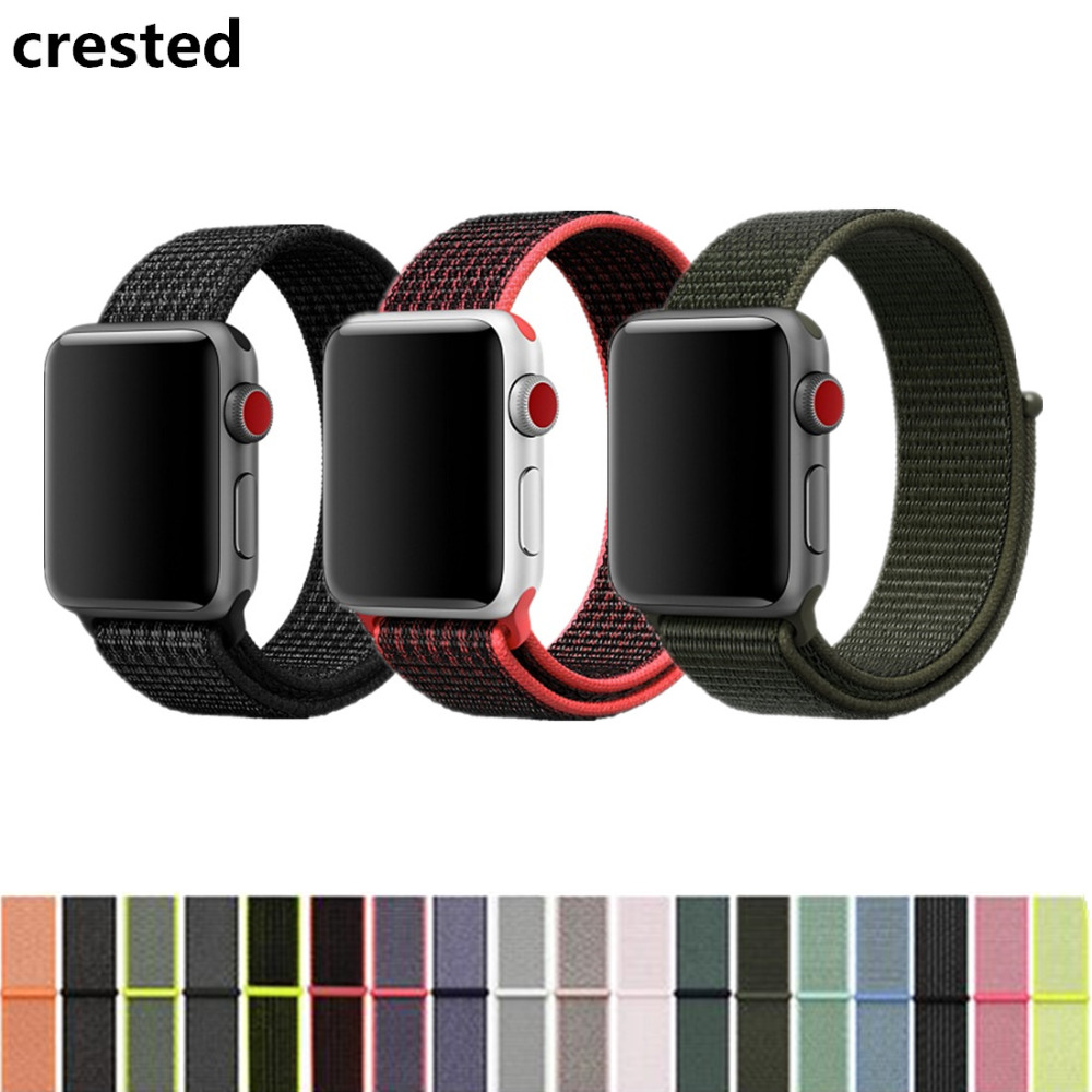 CRESTED Sport Loop For Apple Watch band strap 42mm 38mm Woven Nylon iwatch 3/2/1 wrist bracelet Lightweight Breathable loop belt survival nylon bracelet brown