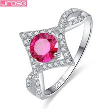 JROSE Wholesale Unique Round Cut Pink Tourmaline & White Cubic Zirconia Women Jewelry Silver Ring Size 6 7 8 9 For Lady Wedding caimao 1 98ct natural emerald cut pink tourmaline si g h round diamond engagement ring