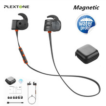 Plextone Magnetic Bluetooth Earphone Waterproof Stereo Sport Earbuds With Mic Handsfree Neckband Wireless Headphone For Phone