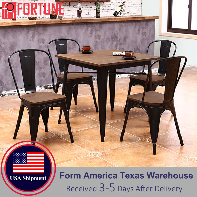 5Pcs Chair For Restaurant Furniture Modern High Back Metal+Wood Restaurant Chairs High Quality Household Dining Chair Wholesaler