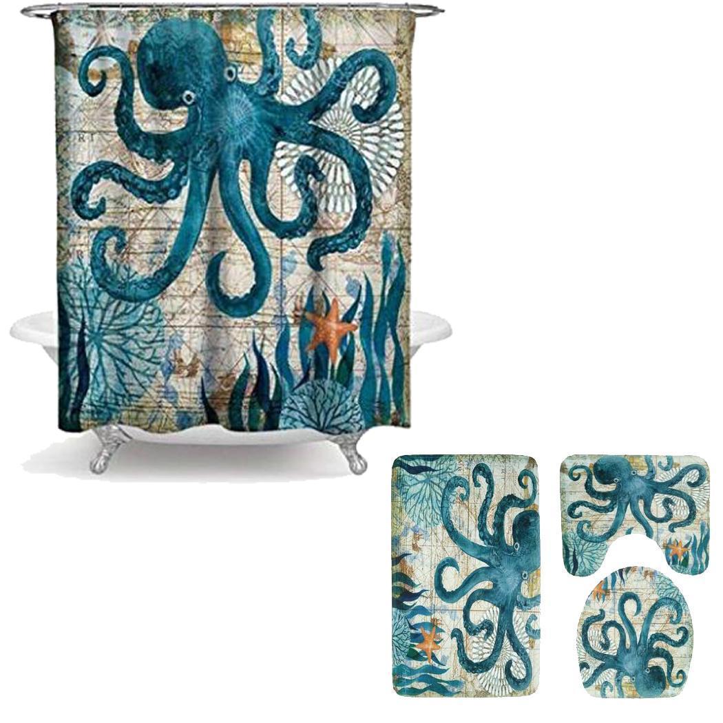 Коврик для ванной комнаты душевая занавеска в комплекте с принтом туалет 1 x Чехол, 1 x ковер, 1 x U коврик для сиденья нескользящий коврик для ванной - Цвет: octopus