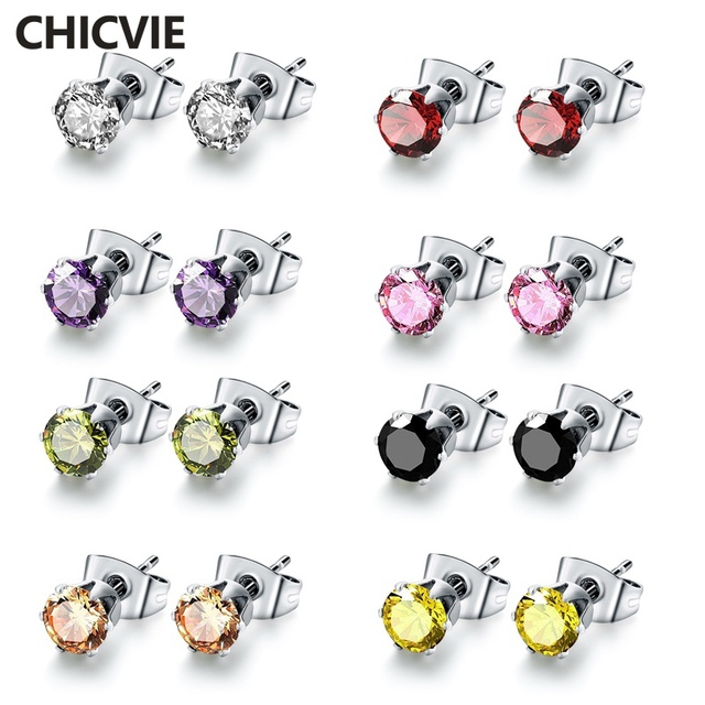 Chicvie 8 цветов устанавливает Популярный Бренд Кристалл Серьги