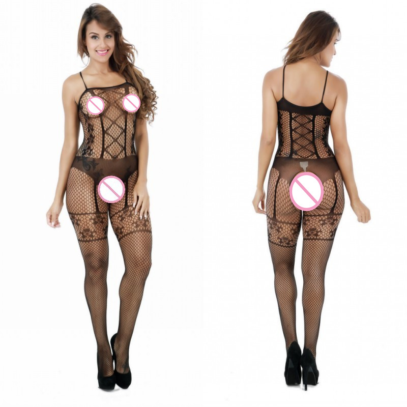 Hollow Out Mesh Tights Bodystocking Fishnet Body Stockings For Women Sexy Costumes Hot Erotic Lingerie Open Crotch Bodysuit