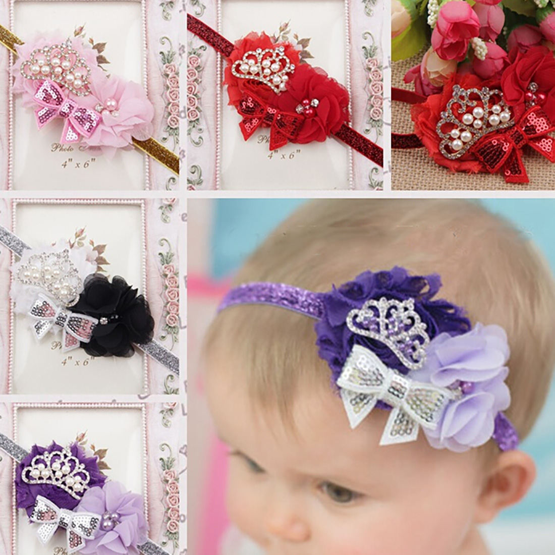 Toddler Infant Crystal Crown Flower Bowknot Headbands Baby Soft Diamond Fabric Hair Band headband for baby
