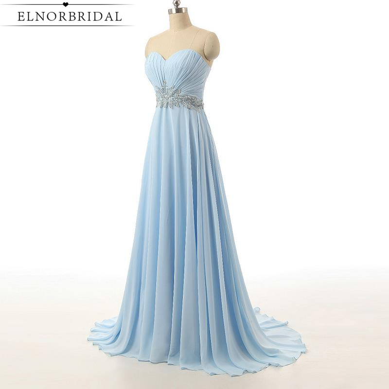 Cheap Sky Blue Prom Dresses 2017 Sweetheart Vestido De Festa Formal Celebrity Brithday Party Dress For Girls Evening Gowns