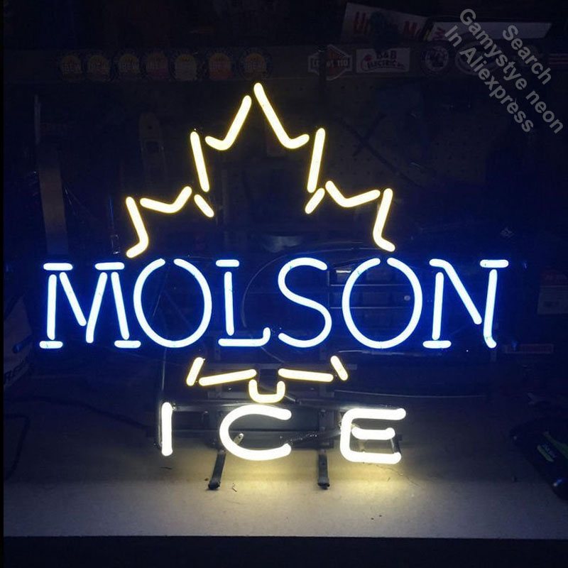 Neon Sign for Molson Canadian Ice Neon Bulb sign handcraft Glass tubes Decorate windows lights personalized electronic signs